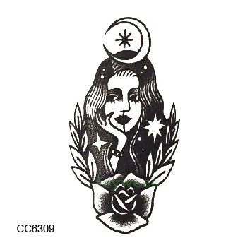 Waterproof Temporary Tattoo Sticker Moon Princess Old