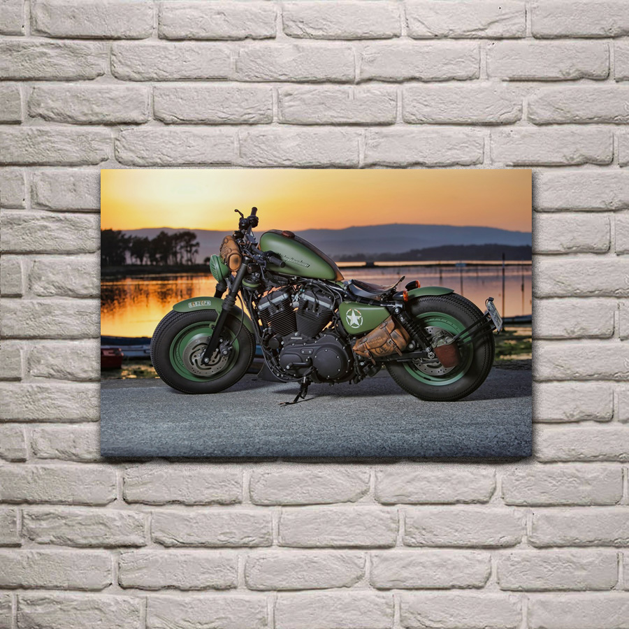 Us 7 67 36 Off Green Hot Rod Motorbike Cool Bike Motorcycle Living Room Decoration Home Wall Art Decor Wood Frame Fabric Poster Ka310 In Painting