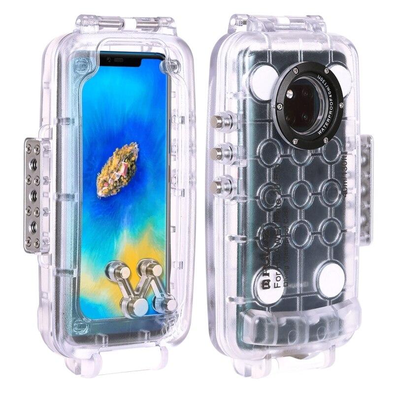 PULUZ voor Huawei Mate 20 Pro duiken waterproof case PC + ABS beschermhoes 40 meter waterdicht (kleur: transparant kleurloos) - 4