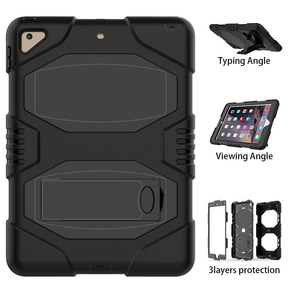 Three Layer Armor Defender PC Silicone Full Body Kickstand Protective Cover Cases for iPad Air 2 Funda Shock-Absorption restricted three body problem