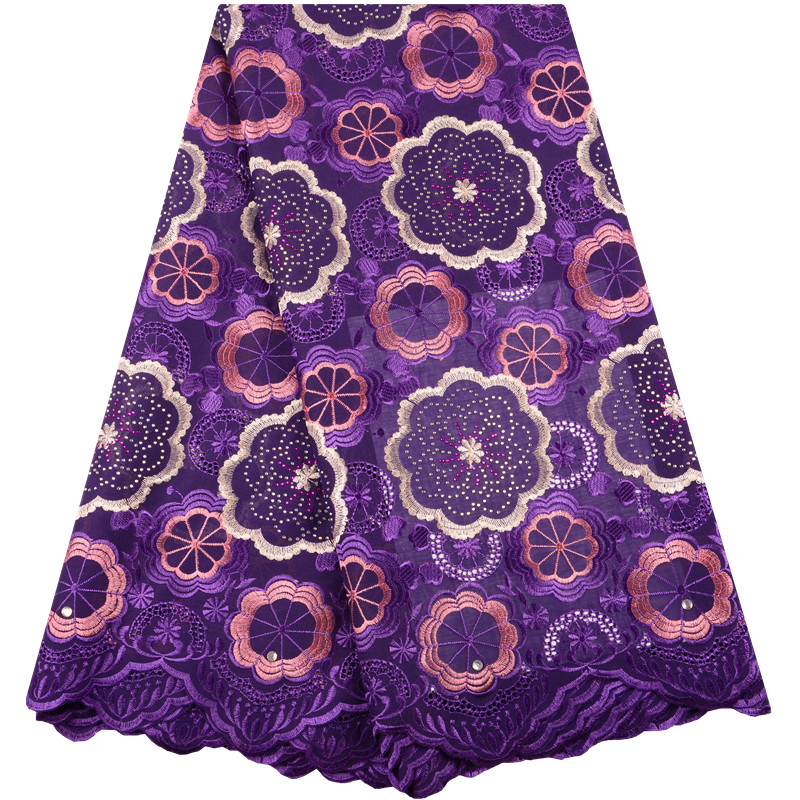 Purple Swiss Voile Lace In Switzerland High Quality 2018 Cotton Dry Lace Materials Men Embroidery Swiss