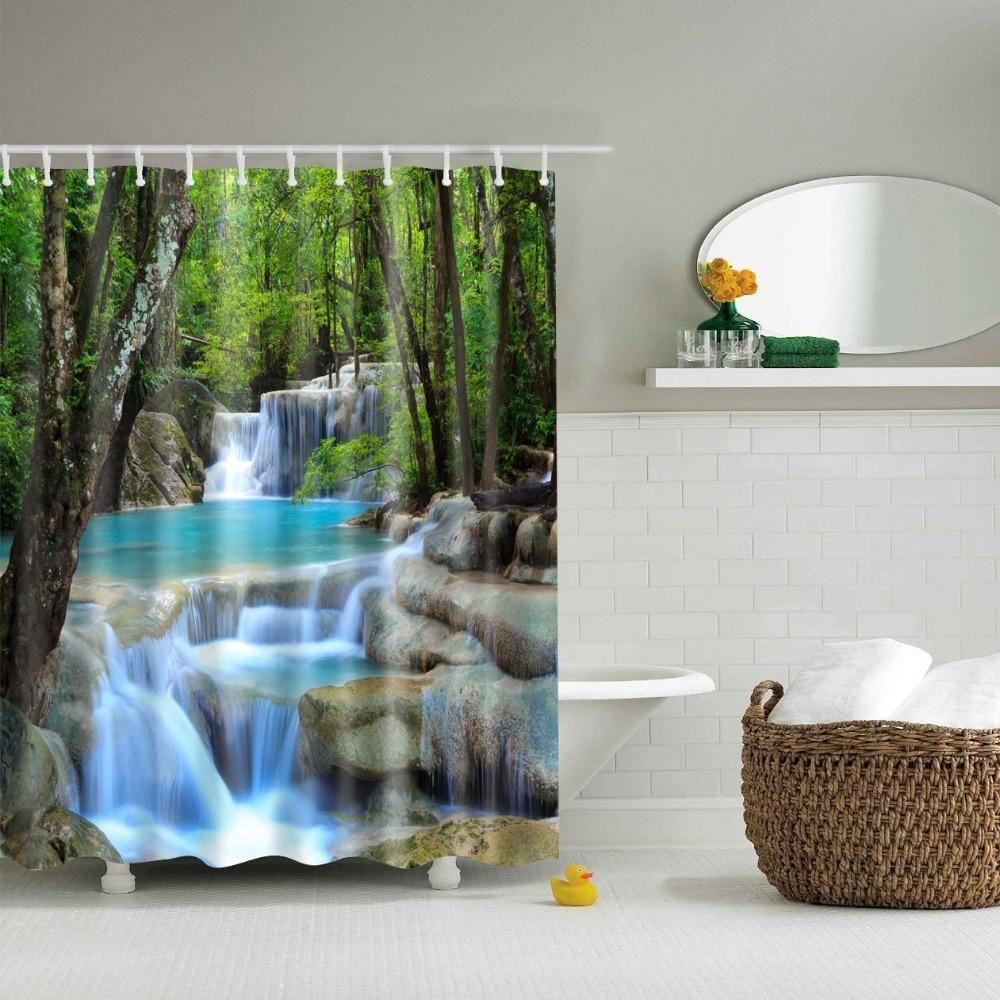 Lfh rainforest waterfall decor shower curtain foliage for Rainforest decorations