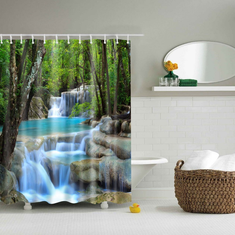 lfh rainforest waterfall decor shower curtain foliage jungle misty mountains and mossy rocks view print fabric