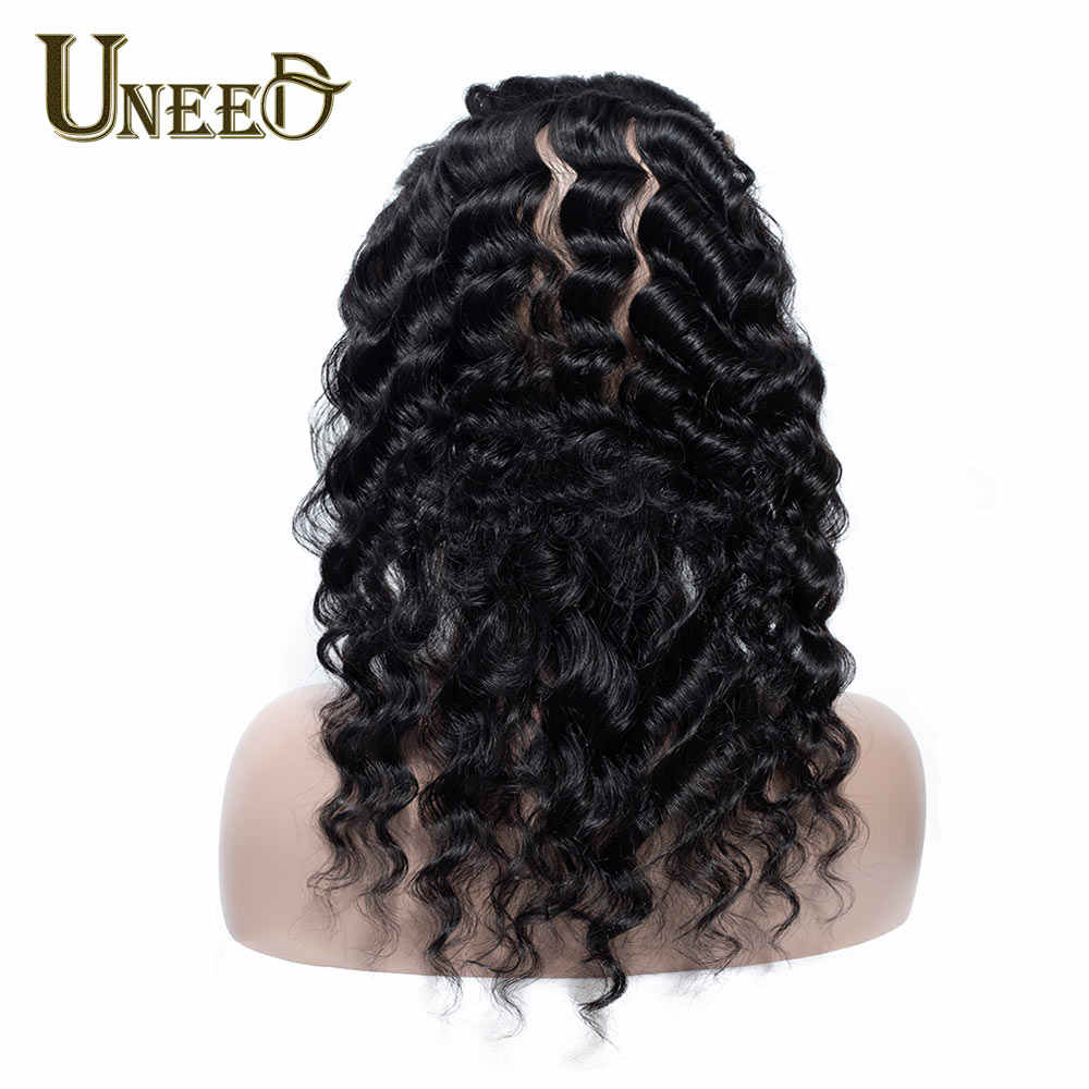 Uneed Hair 100% Human Hair 360 Lace Frontal Remy Malaysian Loose Deep Wave Lace Frontal Closure Pre Plucked With Baby Hair 10-20