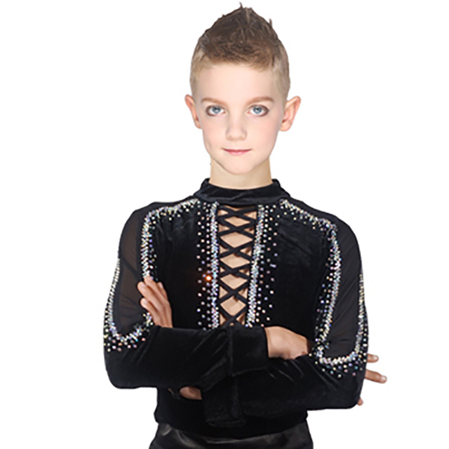 2018 Discount New Latin Dance Tops for Children Black Shirt Ballroom Boy Male Latino Infantile Professional Chacha Fashion N7007