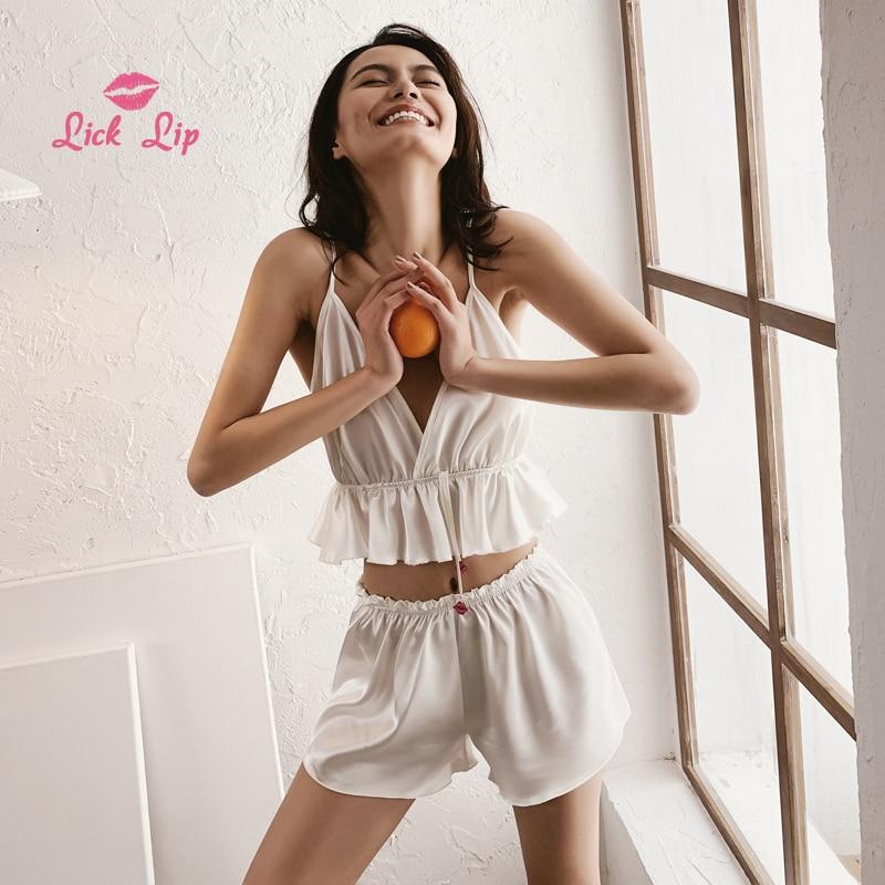 Lick Lip Satin White Ruffle   Pajamas     Sets   Women Deep V-Neck Pijama Feminino Home Suit Lady Spaghetti Straps Nightwear SWC6859-40