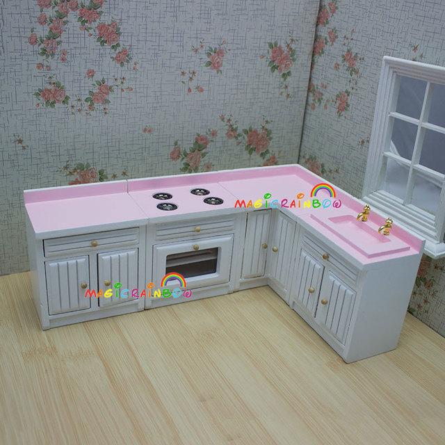 1 12 muebles de casa de muñecas armario de madera Rosa cocina para muñeca  Bjd juguetes de gama de muebles cocina horno fregadero