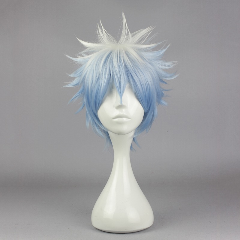 Anime Gintama Sakata Gintoki Wig Cosplay Costume Silver Soul Men & Women Short Hair Halloween Party Wigs+hairnet