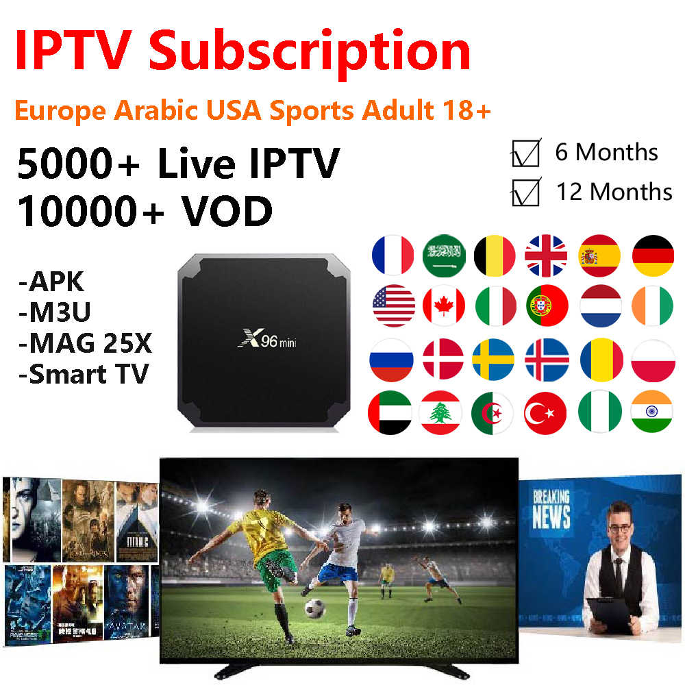 IPTV 1 Year Subscription for Europe Arabic Africa 2300+ Live
