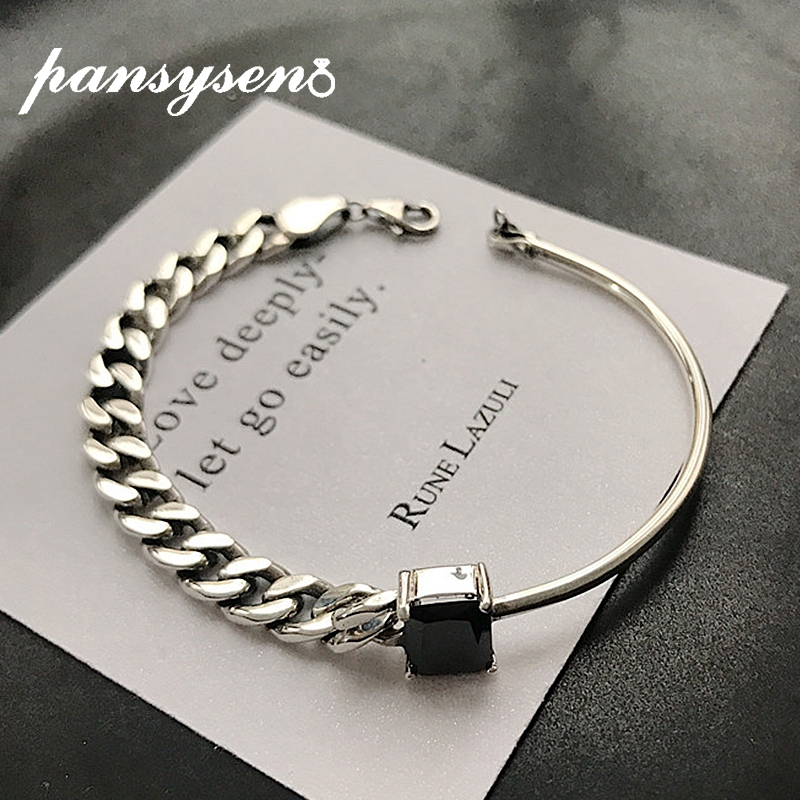 PANSYSEN Hiphop Rock Chain Charm Bracelets for Women Top Quality Real 925 Sterling Silver Party Bracelet Bangle Korean Style