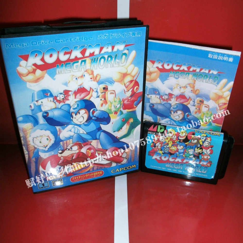 Rockman mega world Game cartridge with Box and Manual 16 bit MD card for Sega Mega Drive for Genesis