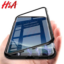 H&A 360 Magnetic Adsorption Phone Case for For Samsung Galaxy S9 S8 Plus S7 Edge Tempered Glass Back Magnet Cover Note 9 8 Case(China)