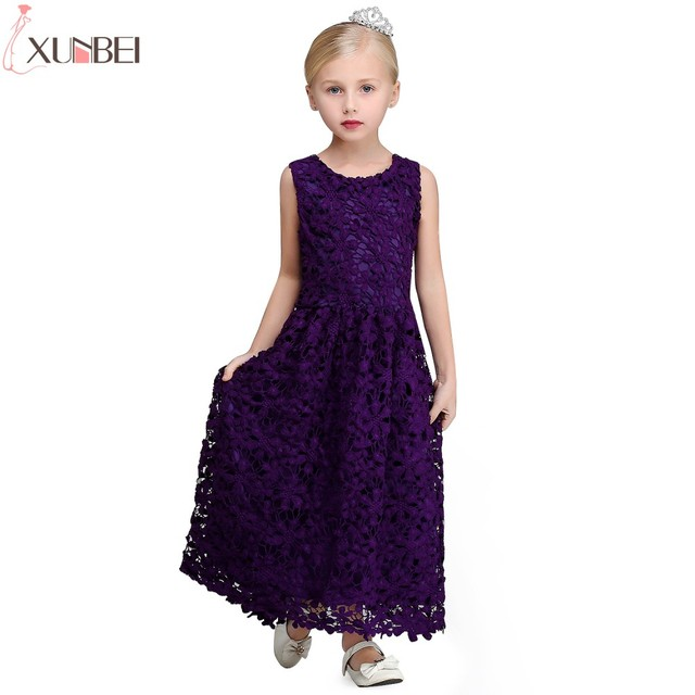 fdcc3e4dc2 Real Photo Dark Purple Lace A-line Flower Girl Dresses 2019 Sleeveless Lace  Flower Communion Dress Pageant Dresses For Child