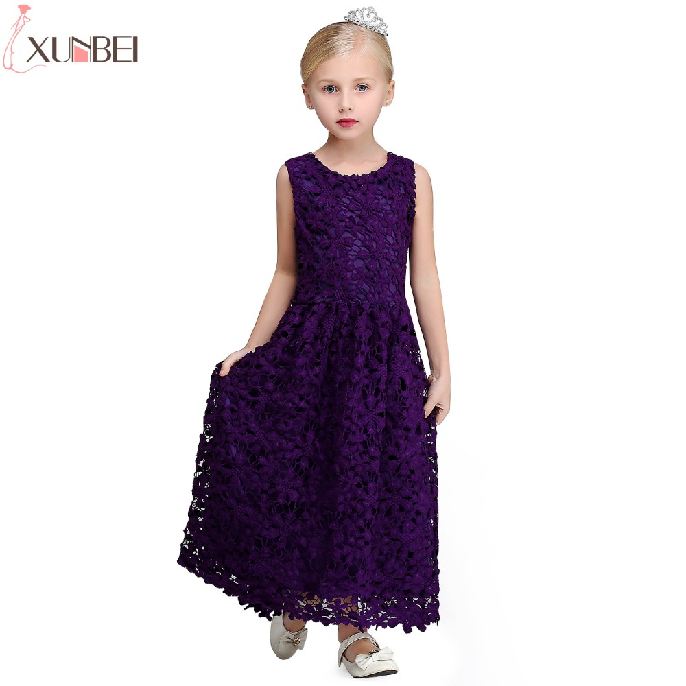 Real Photo Dark Purple Lace A-line   Flower     Girl     Dresses   2019 Sleeveless Lace   Flower   Communion   Dress   Pageant   Dresses   For Child