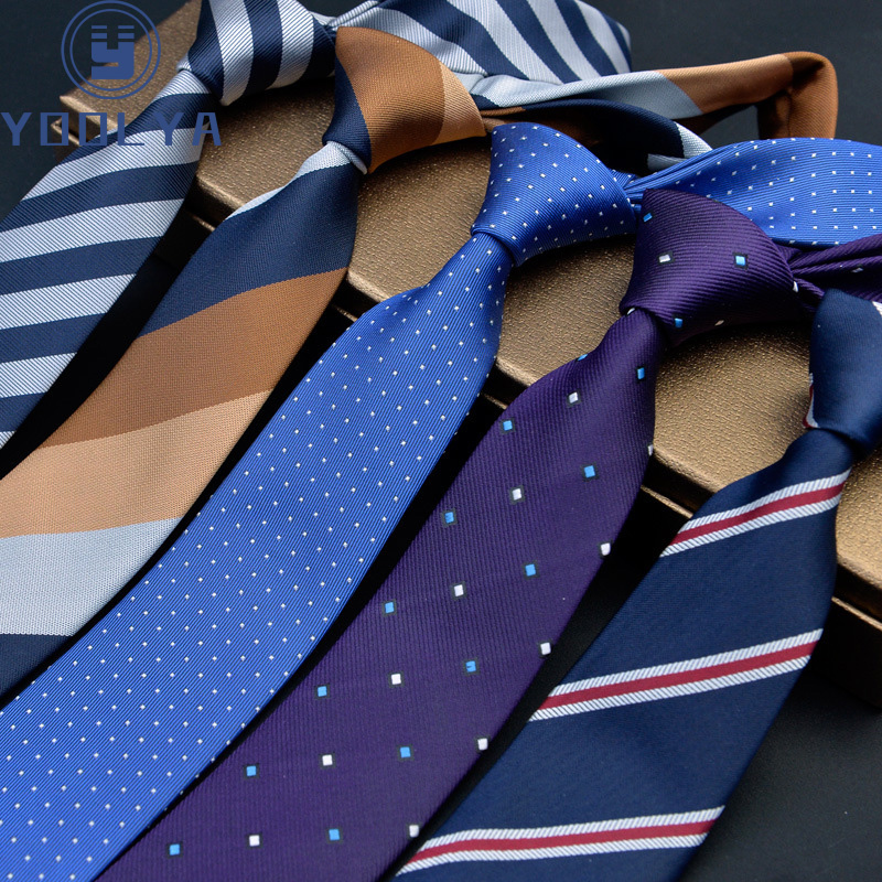 Man Skinny Ties 6cm Polyester Silk Narrow Neck Tie Stripes Dots Necktie Men Wedding Party Accessories Gravatas Slim Ties