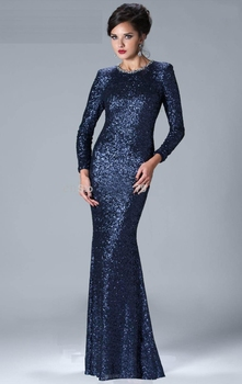 Sexy 2019Mermaid High Collar Long Sleeves Navy Blue Sparkle Sequins Elegant Long Evening Dresses Evening Gowns Prom Gown