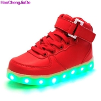 HaoChengJiaDe Fashion Kids Sneakers LED Luminous USB Rechargeable Child Breathable Boys Girl Casual Shoes With Lights