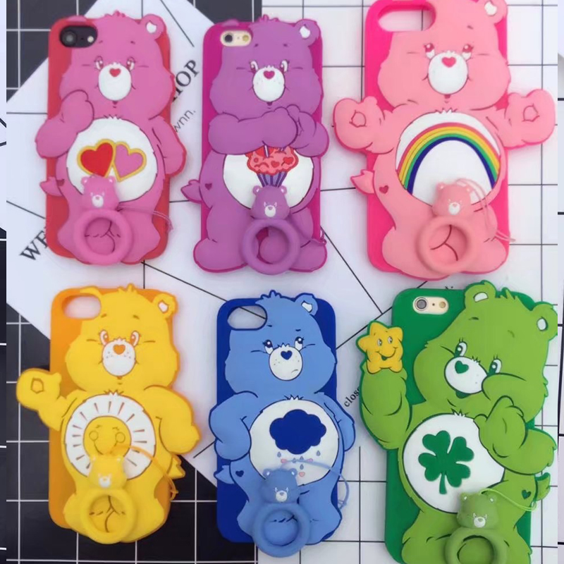 Funny 3D Cartoon Rainbow bear soft silicone cover for Iphone X 6 6s Plus back Protector Skin cover case for iphone 8 7 plus