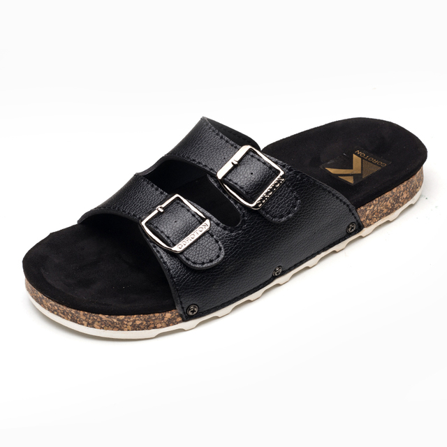f47fefcd39b90 3 Belt Strap Leather Cork Sandals Women Outdoor Beach Slippers Metal Buckle  Studs Babouche Flipflops Valentine s Shoes Gift Shoe