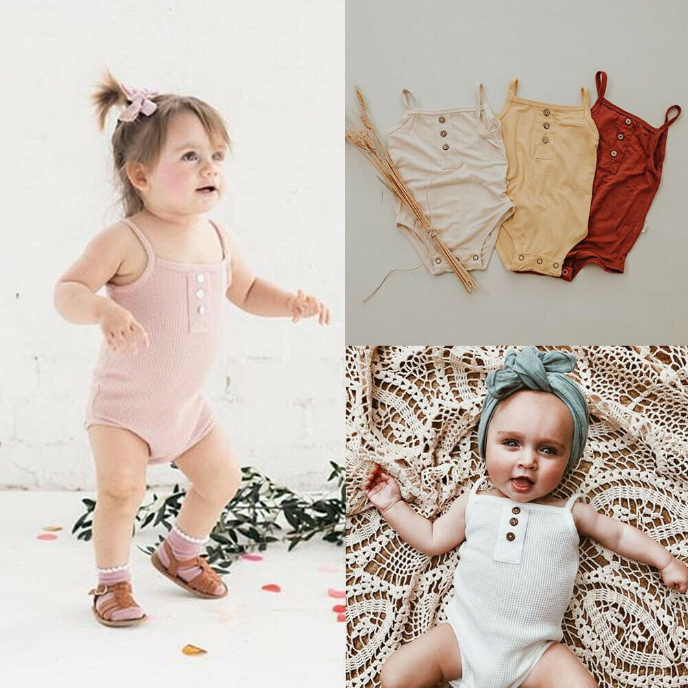 Summer 0-24M Toddler Baby Body Bodysuit Girls Boy Infant Sleeveless Button Strap Bodysuit Jumpsuit Clothes Outfit Casual