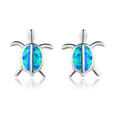 100% 925 Sterling Silver Needle Turtle Stud Earrings Blue/White Fire Opal Animal Earrings For Women Fashion Wedding Jewelry eiolzj white oval fire opal stone 925 sterling silver clip earrings for women bridal fashion jewelry free gift box three colors