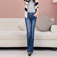 Модные тенденции Вспыхнул джинсы женщин шоу высотой талии эластичный хан издание развивать нравственность вспышек пастушка брюки
