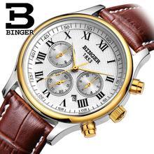Suiza BINGER relojes hombres marca de lujo de Pulsera Mecánico de Pulsera correa de cuero Impermeable B6036-9
