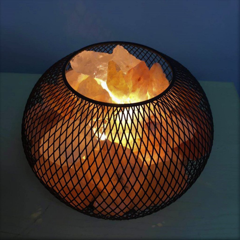 Himalayan Crystal Rock Salt Lamp LED Bedroom Night Light Air Purifier Bedside Atmosphere Lamp with Built-in Battery Case