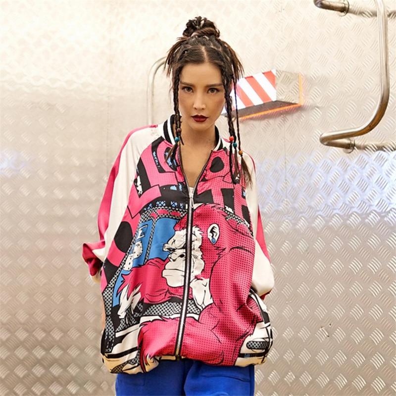 vintage gorilla print treench cute hawaii hip hop women street coat casual zipper track oversieze spring autumn basic coat