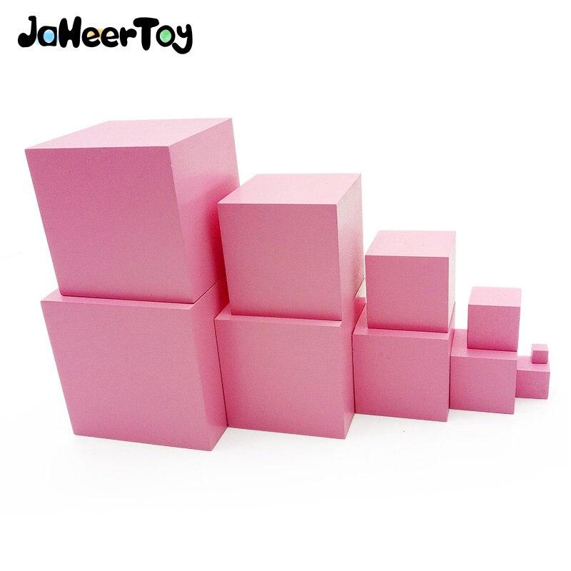 子供のためのJaheerToy木製玩具ピンクタワー幾何学的組み立てブロックから小立方体へモンテッソーリ教育玩具