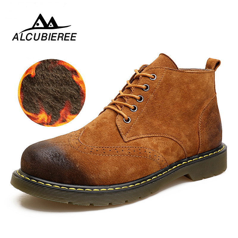 2018 Leather Casual Boots Men Winter Warm Fur Snow Boots Fashion Male Lace-Up British Style Mid-calf Shoes Martin Men Boots xiaguocai new arrival real leather casual shoes men boots with fur warm men winter shoes fashion lace up flats ankle boots h599