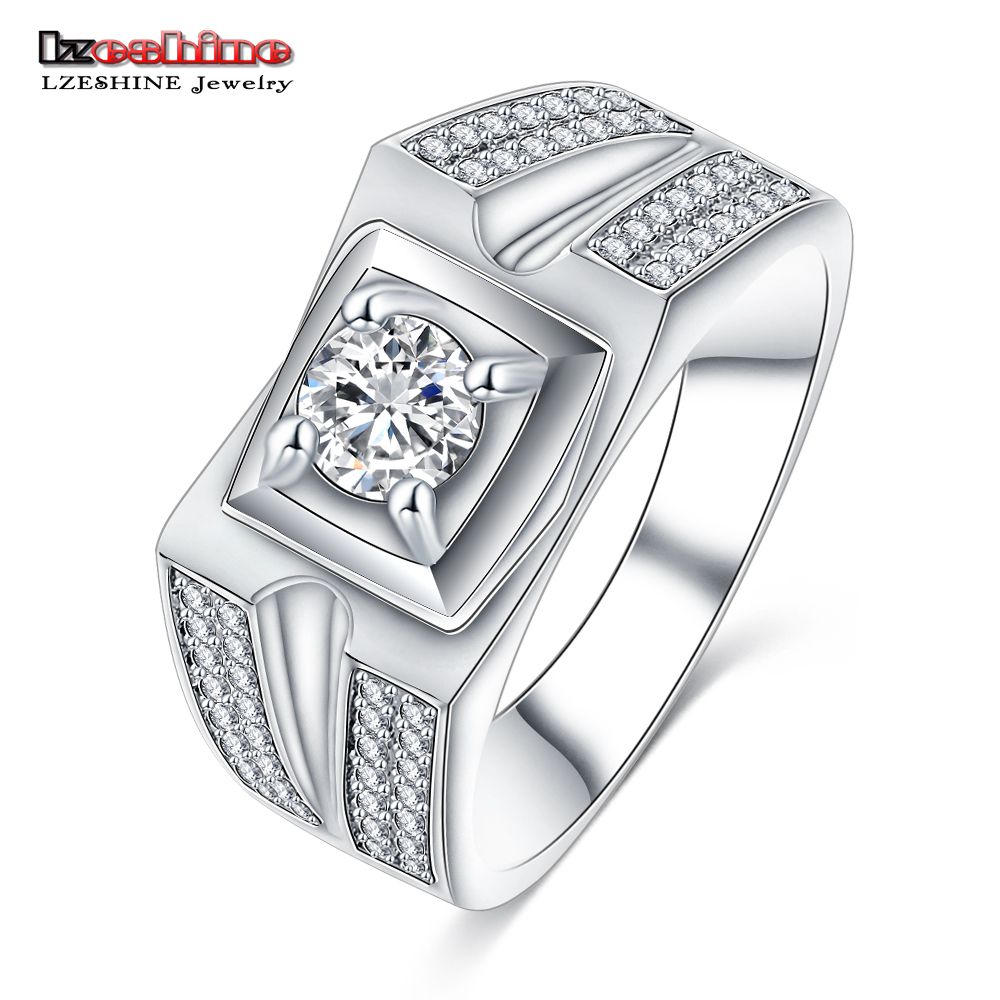 Lzeshine 2016 New Designer Men S Wide Wedding Ring Brand Jewelry Silver Color Rings Aaa Zirconia Whole Cri0418 B In From