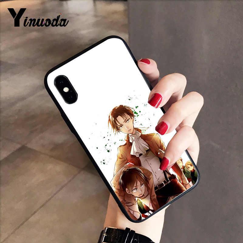 Yinuoda Anime Jepang Attack On Titan Hitam Soft Shell Penutup Telepon untuk iPhone X XS Max 6 6S 7 7 Plus 8 8 PLUS 5 5S XR