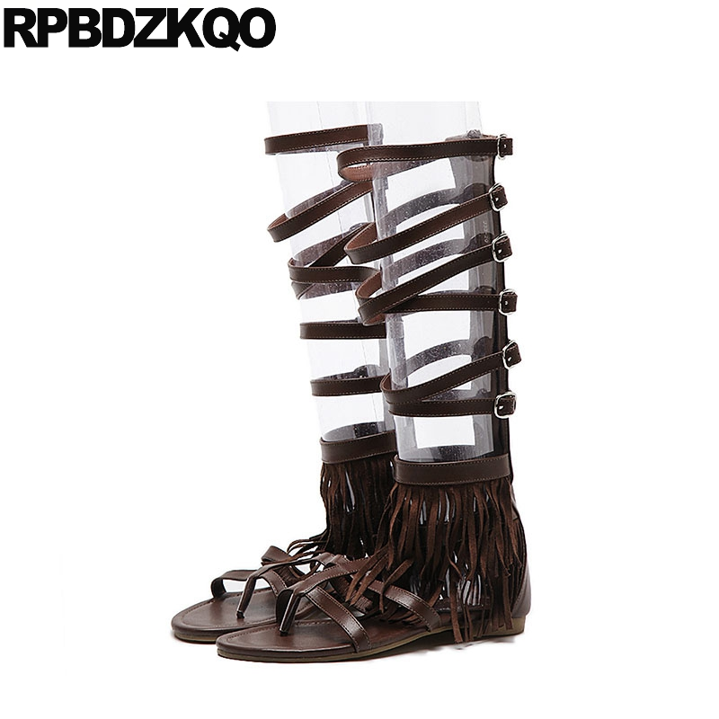 1cb744b6f809a Runway Summer Flat Women Strappy Brown Knee High Gladiator Sandals 2018  Ladies Black Fringe Shoes Boots Roman Thong Designer-in Women s Sandals  from Shoes ...