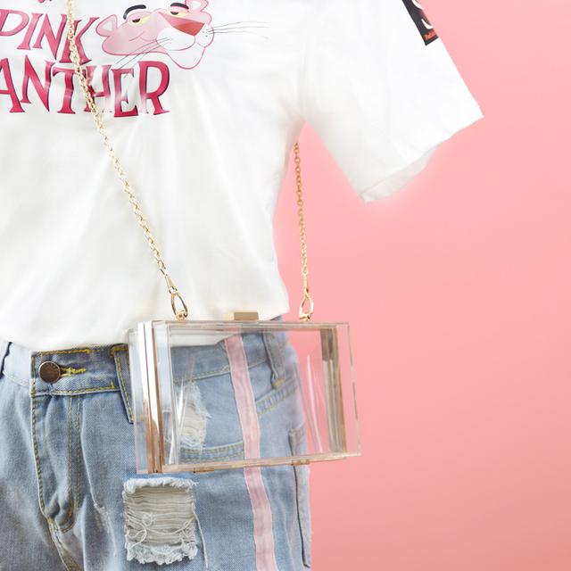 c256193a79f2ed Acrylic Transparent Clutch Chain Box Women Shoulder Bags Hard Day ...