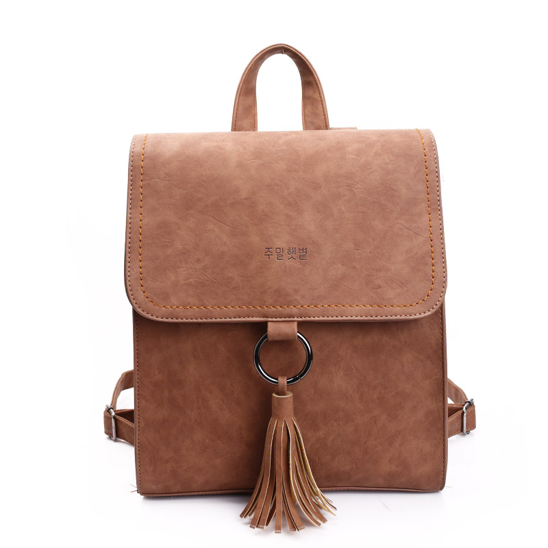 2017 New Fashion Women Brief England Style Backpack High Quality PU Leather Tassel Students School Bag