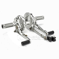 Black Silver Motorcycle Adjustable Rear Set Foot Pegs Rearset For Yamaha VMAX 1700 2009 2016 2010 Aluminum Alloy Foot Rests D25