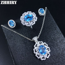 Women natural topaz gem jewelry set Solid 925 sterling silver Genuine blue stone sets white gold plated
