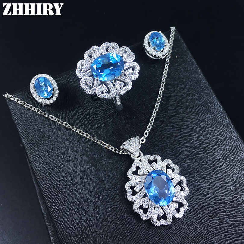 Women Natural Blue Topaz Gem Jewelry Set Solid 925 Sterling Silver Genuine Stone Necklace Earrings Ring Pendant genuine natural moonstone blue light gem stone donut shape women necklace charm pendant aaaa