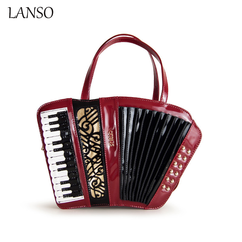 Accordion Carved Musical Instrument Package Exquisite Hot Women's Portable Shoulder Bag High Quality PU Patent Leather Crossbody irin professional mini 17 key accordion educational keyboard musical instrument for both kids