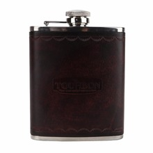 Tourbon Portable Stainless Steel 6oz Hip Flask Leather Alcohol Bottle Whisky Carrier Wine Pot Container
