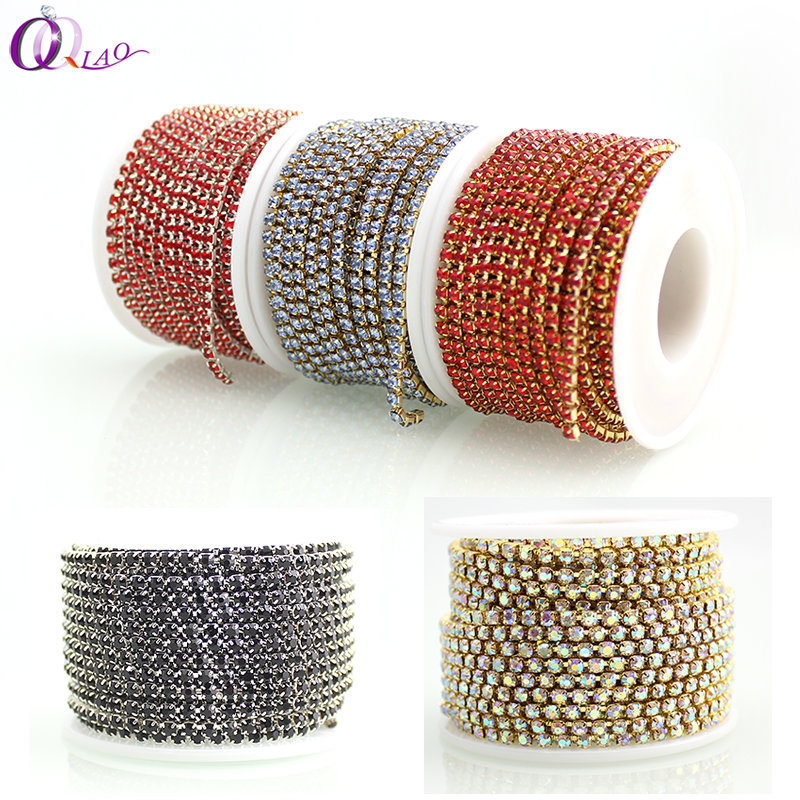 SS12 10yards / roll Жаңа ұсыныстар Crystal Rhinestone DIY Beauty 3mm Fashion Accessories Жабу Rhinestone Cup Chain