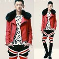 2017 Men's Korean Style Slim Leather Coat Fur Collar Short Design Red Leather Fashion Trend Personality Jacket Outerwear