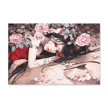 Diy digital oil painting by numbers drawing hand painted picture Wall Decor pic Chinese antique girl ink style peony flower цена и фото