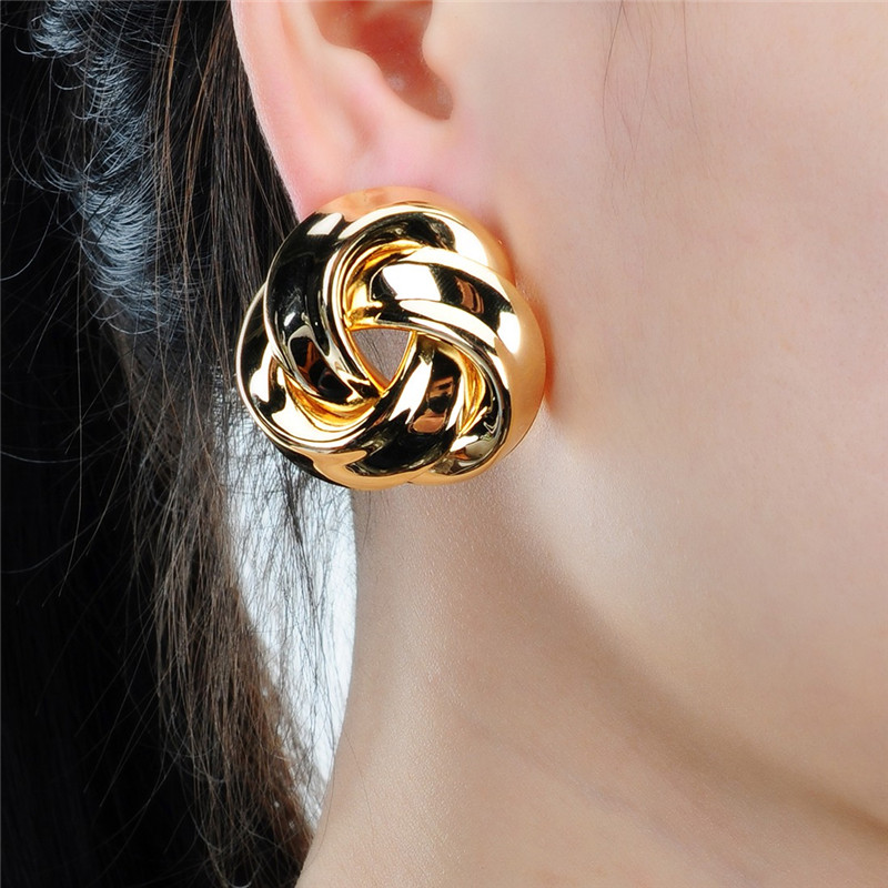 JEROLLIN Twisted Flower Stud Earrings High Quality Earrrings Women Lady Girl Friend Cute Wholesale