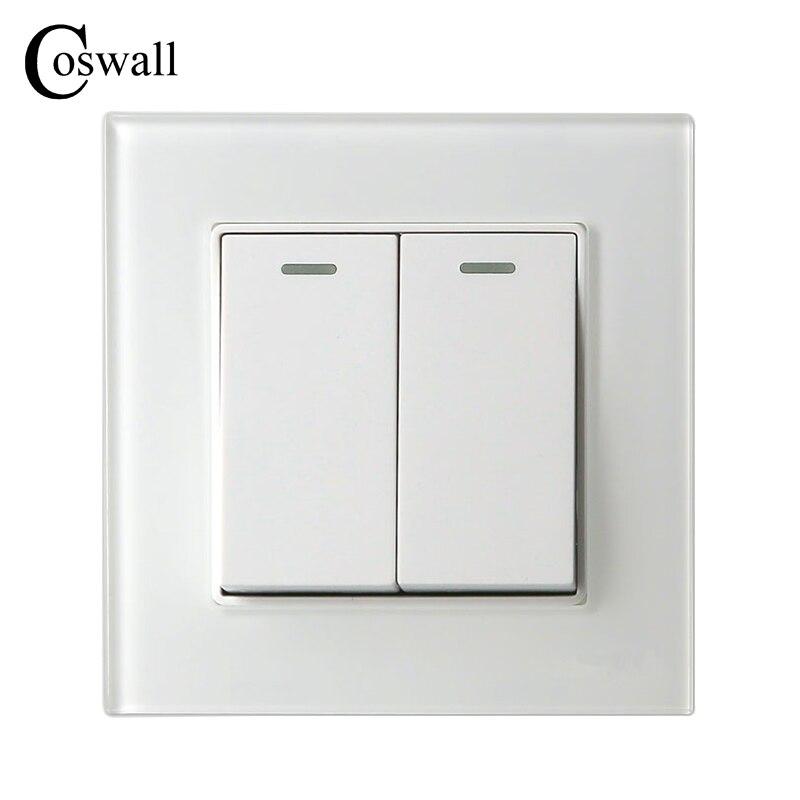 COSWALL 2 Gang 1 Way Luxus Kristall Glasscheibe Lichtschalter Taster Wand Schalter Interruptor 16A