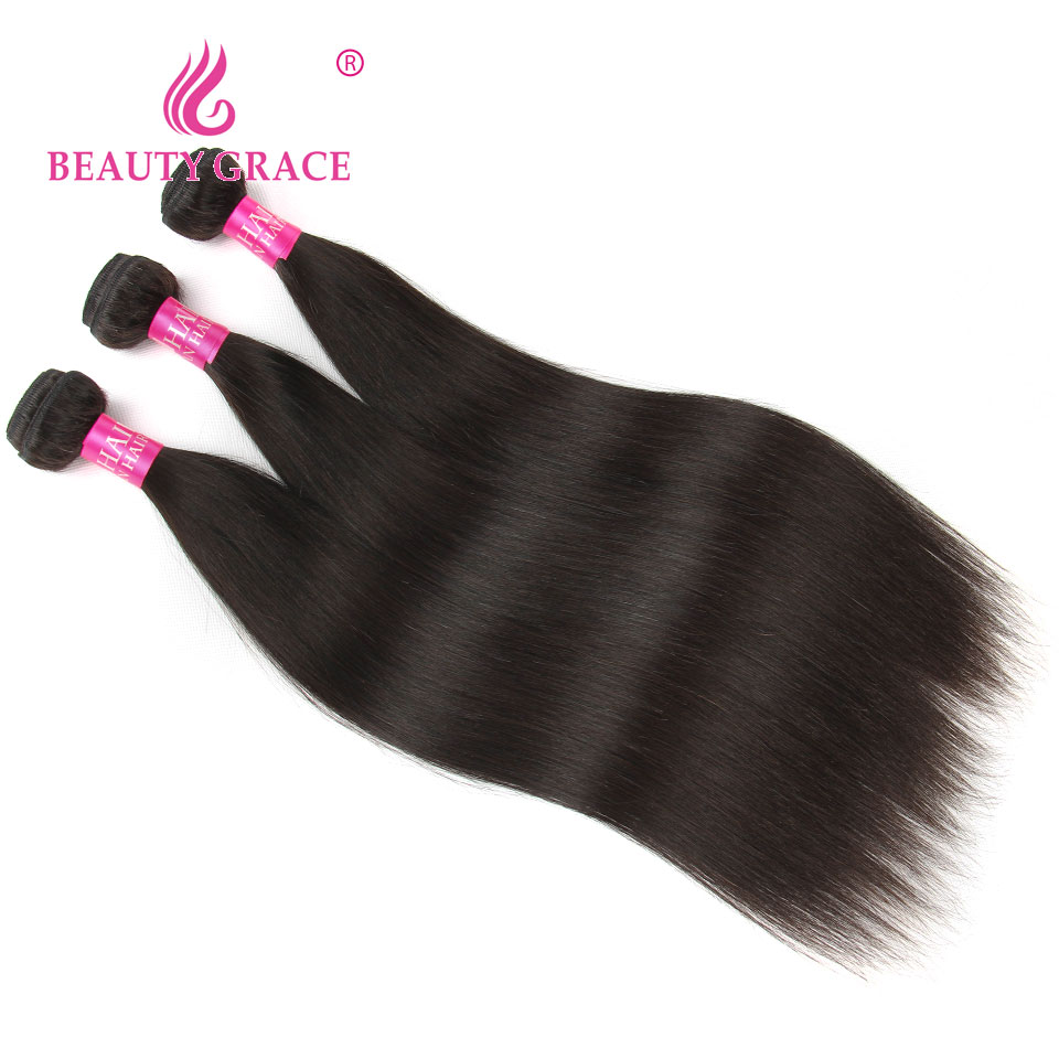 Beauty Grace Straight Peruvian Hair Bundles With Closure 4 * 4 - Mänskligt hår (svart) - Foto 2