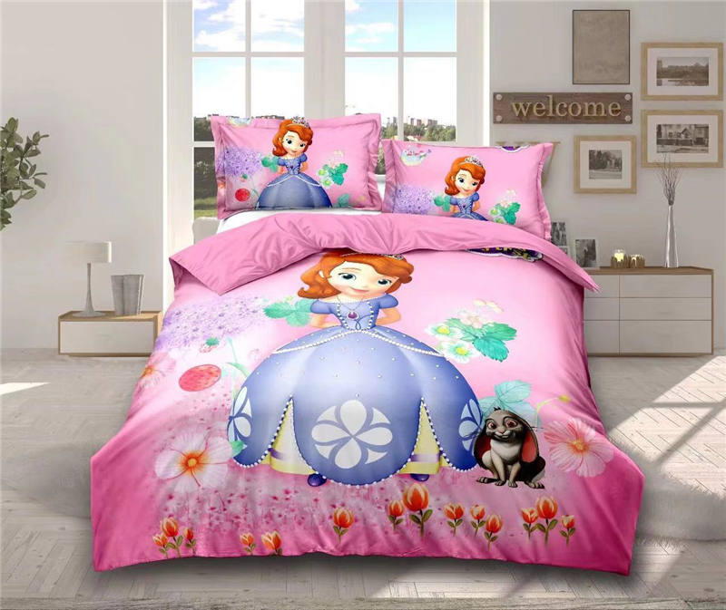 New Pink Sofia Princess bedding set twin size bed sheet duvet cover for girls room single bedspread coverlets 3d printed 2-4 pcsNew Pink Sofia Princess bedding set twin size bed sheet duvet cover for girls room single bedspread coverlets 3d printed 2-4 pcs