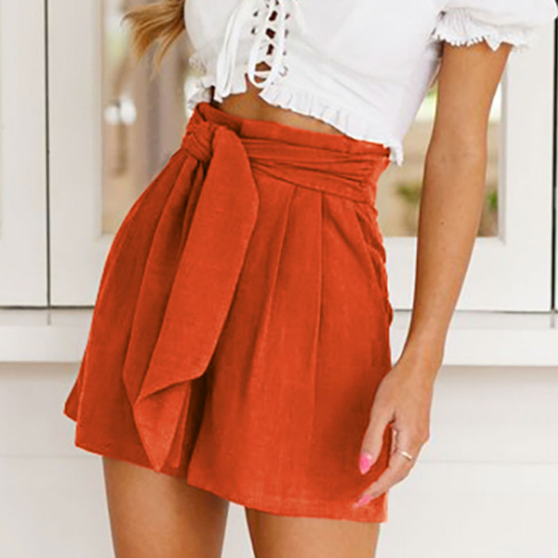Women Summer Stylish Loose   Shorts   Beach High Waist   Short