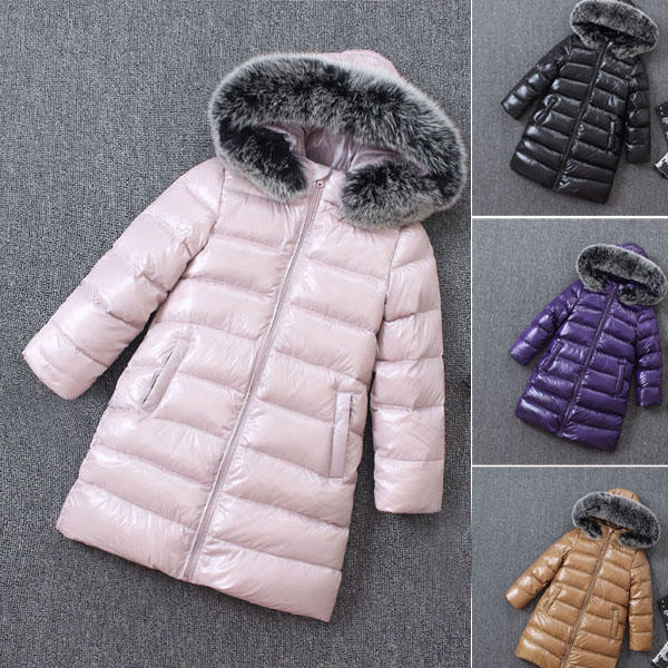 Children's down jacket boys and girls long coat thick natural fox fur collar removable muhammad ali